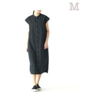 MUJI (無印良品) - ◆新品◆ 無印良品 綿混ストレッチフレンチスリーブワンピース/ 黒/M