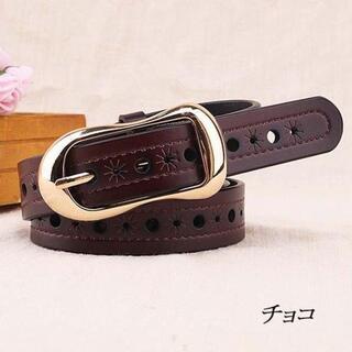 【チョコ】レトロ風カジュアルな本革ベルト(ベルト)