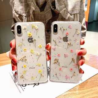 iPhoneケース ピンク 押し花 リアルフラワー ラメ 可愛い 上品 綺麗(iPhoneケース)
