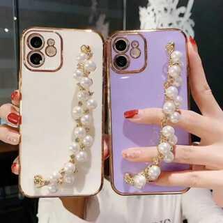 iPhoneケース パールチェーン付 ホワイト シンプル (iPhoneケース)