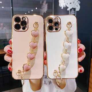 大人気 iPhoneケース ハートチェーン付 ピンク (iPhoneケース)