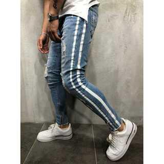 【Lサイズ 】ダメージデニム パンツ メンズ ライトブルー
