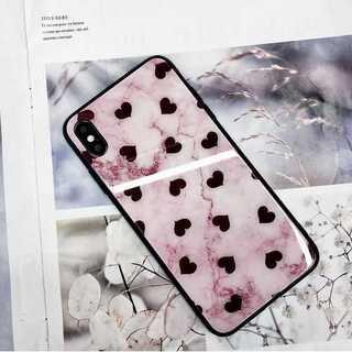 iPhoneケース ハート柄 強化ガラス TPU 大理石調 ピンク 可愛い(iPhoneケース)