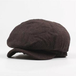 ハンチング帽 メンズ リンボーン つば付き キャスケット ベレー帽 ブラウン(ハンチング/ベレー帽)