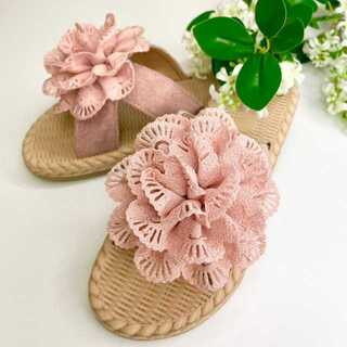 【新品】サンダル フラワー ピンク 23cm ビーチサンダル 花(サンダル)