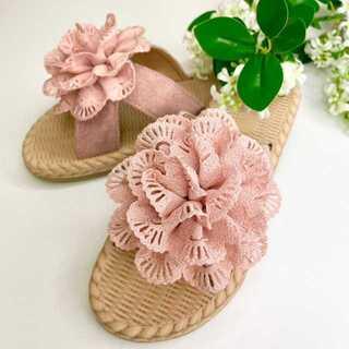 【新品】サンダル フラワー ピンク 24cm ビーチサンダル 花(サンダル)