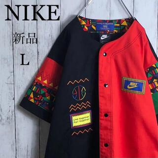 NIKE - 【新品】【両面刺繍】ナイキ 90s 復刻 ベースボールシャツ L 黒 オレンジ