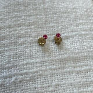 K18 18金 ピンクのストーン付きピアス