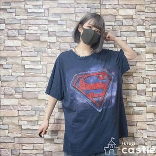 キャラクターTシャツ スーパーマン アメコミ プリント Tシャツ ネイビー XL