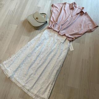 タグ付き新品*総レース 白 フレア ロングスカート