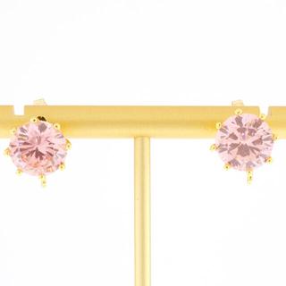 レネレイド(Les Nereides)の正式刻印あり現物新品☆La Diamantine  ピンクの一粒ピアス^_^(ピアス)