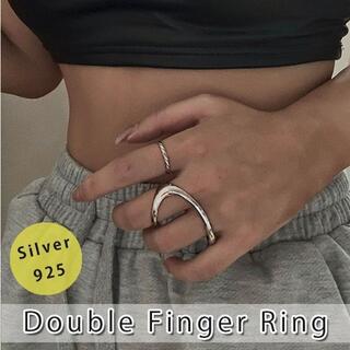 ング 指輪 フリーサイズ ダブルフィンガーリング 変形リング カービング 曲線