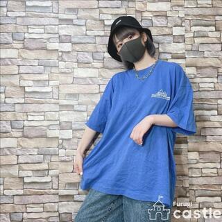 オーバーサイズ ビッグT スポカジュ シンプル Tシャツ ブルー XL