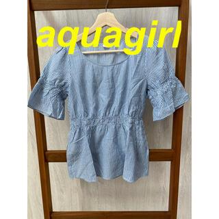 アクアガール(aquagirl)の【aquagirl】ブルーストライプ ブラウス(シャツ/ブラウス(半袖/袖なし))