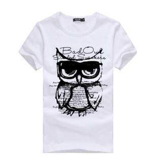 ふくろうデザイン♪ 半袖 Tシャツ  L 白 メンズ レディース