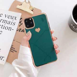 iPhone ケース カバー ゴールドフレーム グリーン X/XS