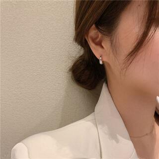 ドロップフープピアス シルバー 両耳用 銀色 丸形 雫 PIA199