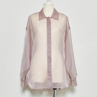 Rosary moon - Rosarymoon オーガンジー シャツ ピンク 羽織り 新品 ロザリームーン