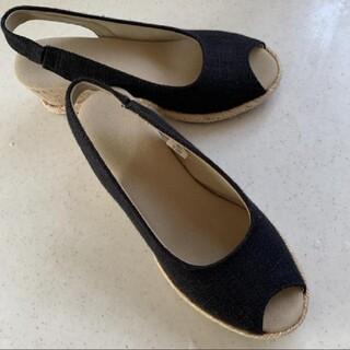 ムジルシリョウヒン(MUJI (無印良品))の無印良品 黒 エスパドリーユ サンダル S(サンダル)