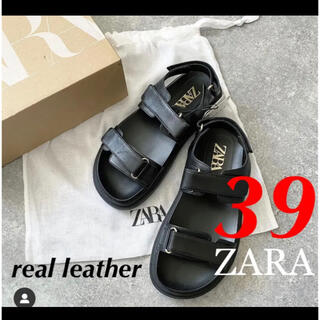 ZARA - ラスト1点 ZARA 新品 ベルト付きレザーフラットサンダル ビルケンシュトック