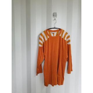 アンユーズド(UNUSED)のUNUSED アンユーズド 切り替えカットソー オレンジ(Tシャツ/カットソー(七分/長袖))