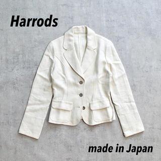 ハロッズ(Harrods)のHarrods ハロッズ 日本製 ホワイトジャケット ショート丈 リネン混 レア(テーラードジャケット)