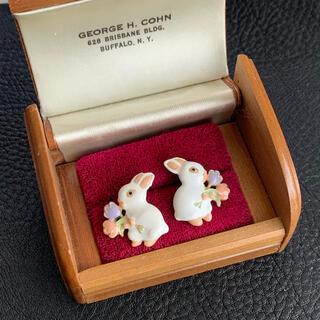 60'sUSA!レア!花束を持ったウサギのピアス
