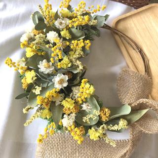 ミモザと黄色い小花のリース♡ドライフラワーリース(ドライフラワー)