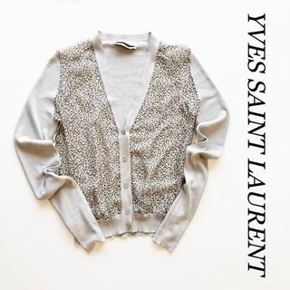 イヴサンローランボーテ(Yves Saint Laurent Beaute)の【イヴサンローラン】 シルク カシミヤ シアーカーディガン ライトベージュ XL(カーディガン)