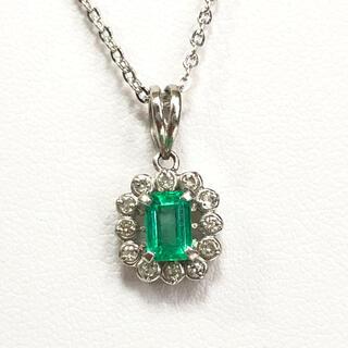 【超美品】0.5ctエメラルド、0.1ctダイヤ、Pt900 ペンダント(ネックレス)