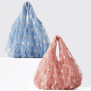 ザラ(ZARA)のZARAオーガンジーエコバッグ 手提げチュール素材 花柄 刺繍 メッシュ ブルー(エコバッグ)