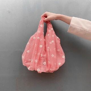 ザラ(ZARA)のオーガンジー エコバッグ 手提げチュール素材 花柄 刺繍 メッシュ ブルー(エコバッグ)