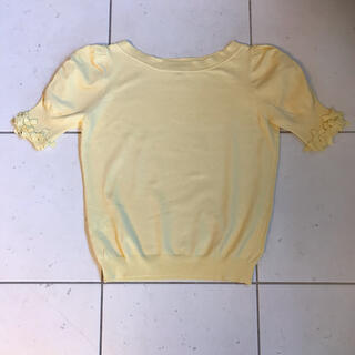 トッカ(TOCCA)のtocca  トッカ リボン ニット イエロー 黄 xs 半袖 美品(カットソー(半袖/袖なし))