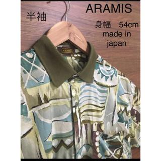 アラミス(Aramis)の90s ARAMIS  綿 半袖 柄シャツ ニット襟(シャツ)