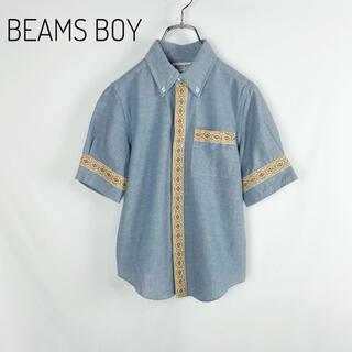 ビームスボーイ(BEAMS BOY)のBEAMS BOY リボン装飾BDダンガリーシャツ  麻混 ボタンダウン 半袖(シャツ/ブラウス(半袖/袖なし))