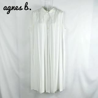 アニエスベー(agnes b.)のプリーツロングシャツ ノースリーブワンピース 1サイズ(S)白 チュニック(シャツ/ブラウス(半袖/袖なし))