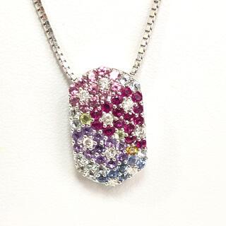 【数日限定】ルビー, アメジスト, ダイヤモンド付、K18WG ネックレス(ネックレス)