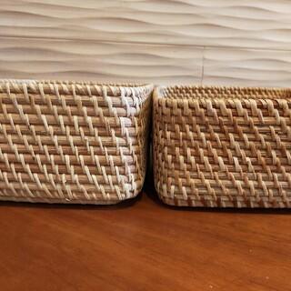 ムジルシリョウヒン(MUJI (無印良品))の無印良品 ラタン バスケット 重なるラタン長方形ボックス(バスケット/かご)