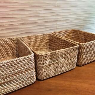 ムジルシリョウヒン(MUJI (無印良品))の無印良品重なる長方形バスケット 中 ラタン 3個セット(バスケット/かご)