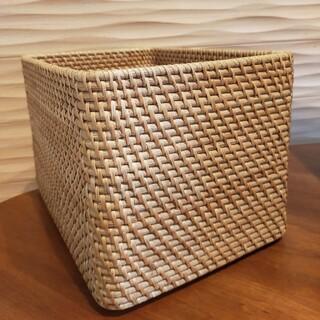 ムジルシリョウヒン(MUJI (無印良品))の重なるラタン長方形バスケット 大 無印良品(バスケット/かご)