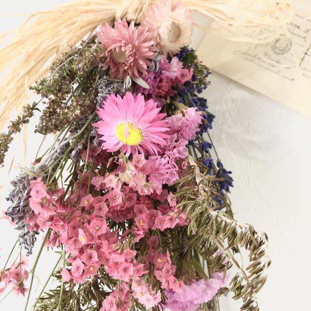 香り立つ無農薬 ピンクハーブスワッグ ハンドメイドのフラワー/ガーデン(ドライフラワー)の商品写真