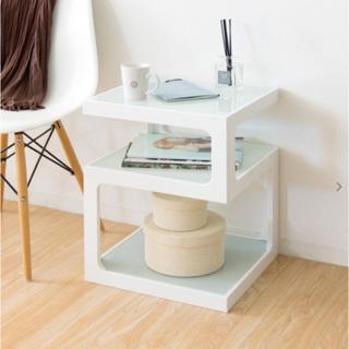 サイドテーブル  ナイトテーブル ソファテーブル ガラス天板 おしゃれ(ローテーブル)