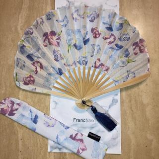 フランフラン(Francfranc)のFrancfranc☆フラワー扇子 ネイビー(和装小物)