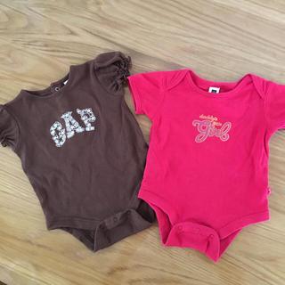 ベビーギャップ(babyGAP)のbabyGAP 半袖ロンパース 2枚組 50(ロンパース)