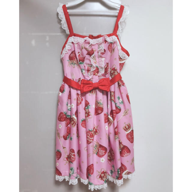 Angelic Pretty(アンジェリックプリティー)の royal crown berry ピンク ジャンパースカート レディースのワンピース(ひざ丈ワンピース)の商品写真