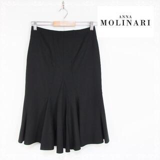アンナモリナーリ(ANNA MOLINARI)のアンナモリナーリ ロングスカート 黒 38 S ストレッチ(ロングスカート)