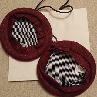 プチバトー(PETIT BATEAU)のショッパー 袋付き プチバトー ベレー帽  姉妹コーデ 2つセット(帽子)