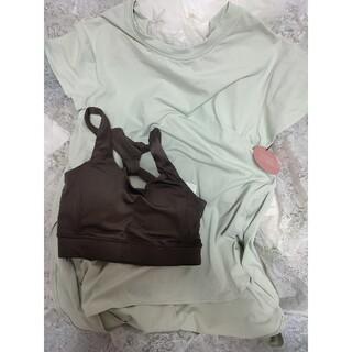 エミアトリエ(emmi atelier)のemmi yoga エミ バックリボンシャツ ブラセット ミント×グレー(ヨガ)