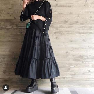 ドゥロワー(Drawer)のいの様専用★シーニュ cygne  Aki ティアードスカート ブラック 新品(ロングスカート)