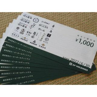 エーピーホールディングス株主優待券9000円分(レストラン/食事券)